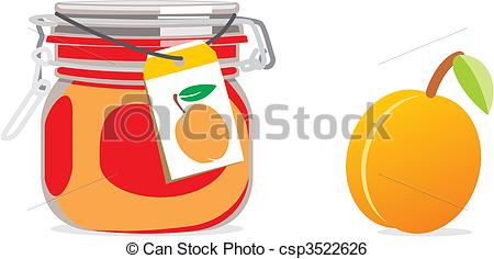 Clip Art Vector of isolated apricot jam jar and fruit.