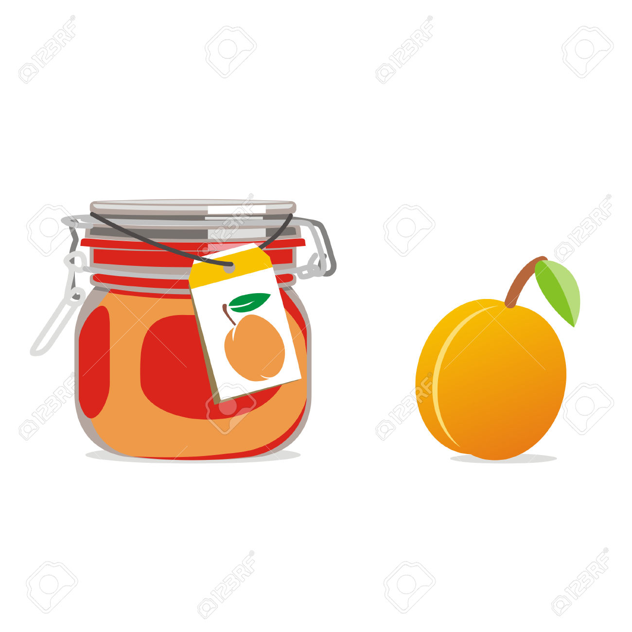 Isolated Apricot Jam Jar And Fruit Royalty Free Cliparts, Vectors.