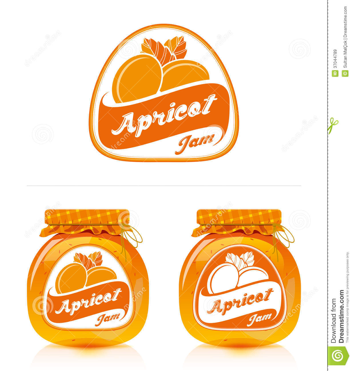 Apricot Jam Label With Jar Royalty Free Stock Photo.