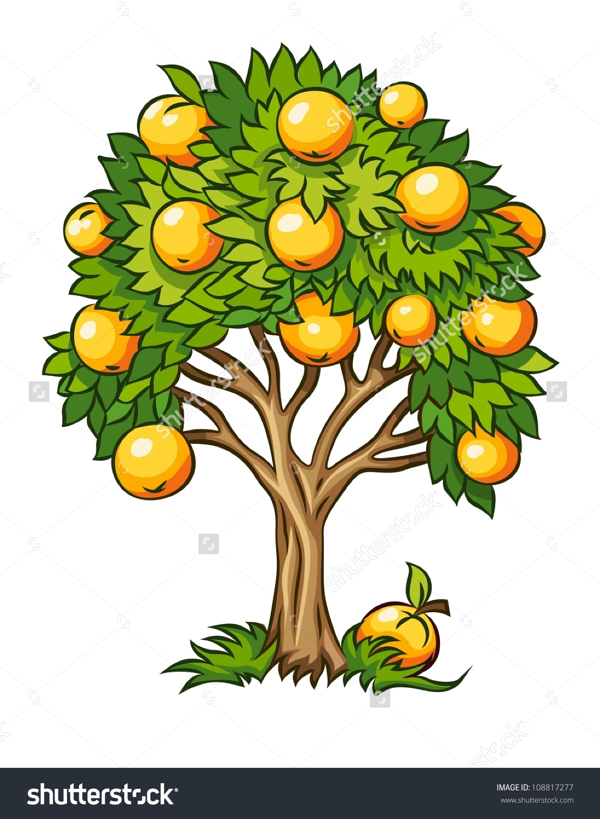 Fruit Tree Vector Illustration Isolated On Stock Vector 108817277.