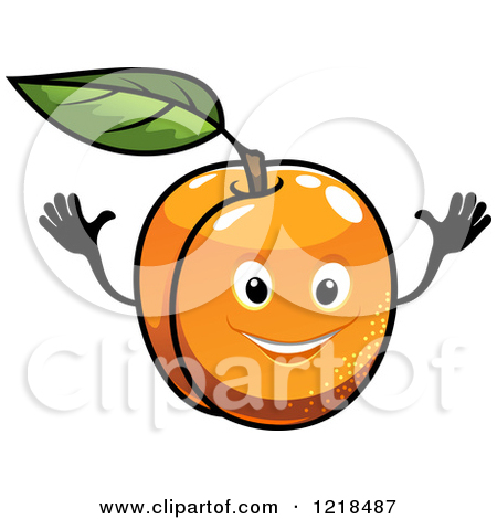 Clipart of a Happy Apricot Character.