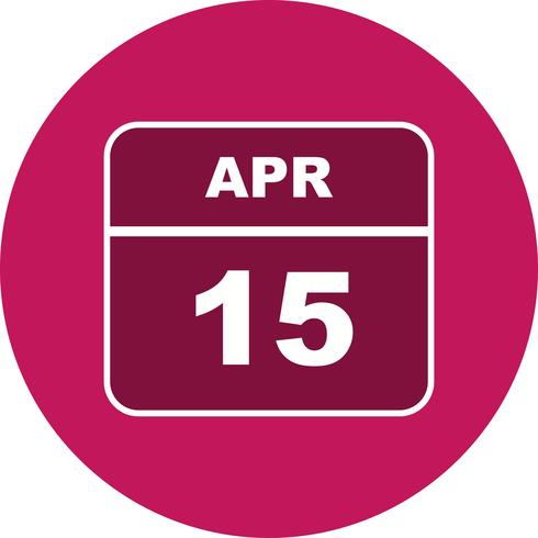 April 15th Date on a Single Day Calendar.