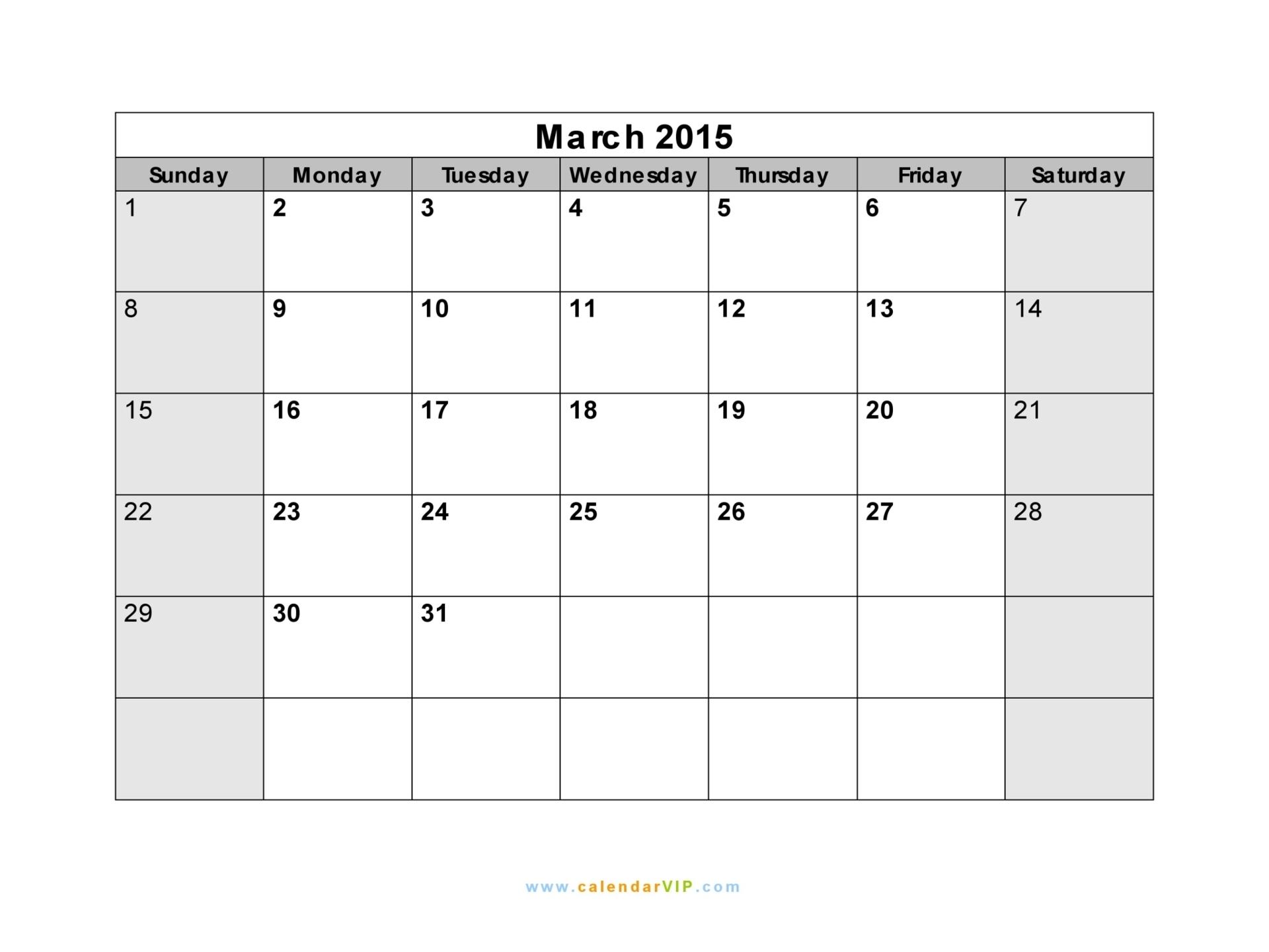 march 2015 calendar template.