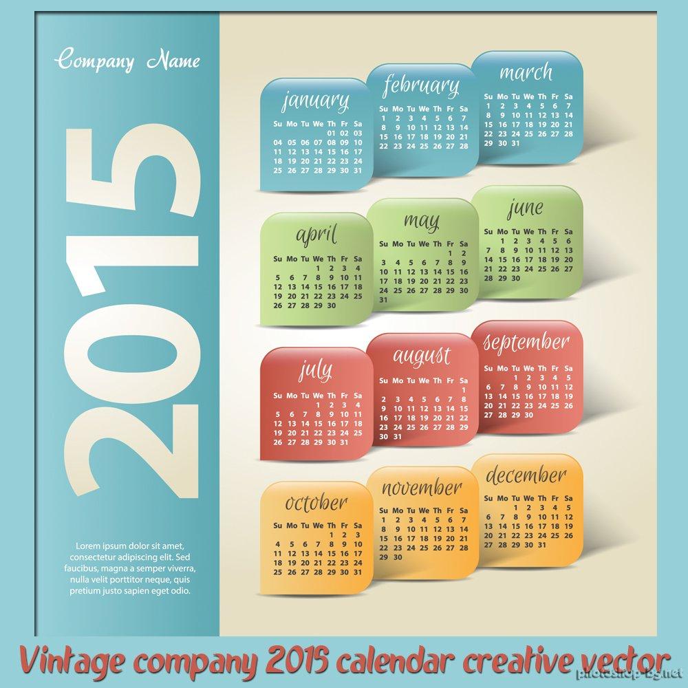 Vintage company 2015 calendar creative vector ?  Photoshop.