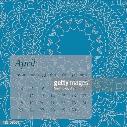 Mandala April 2016 calendar. Round Ornament Pattern. Clipart.