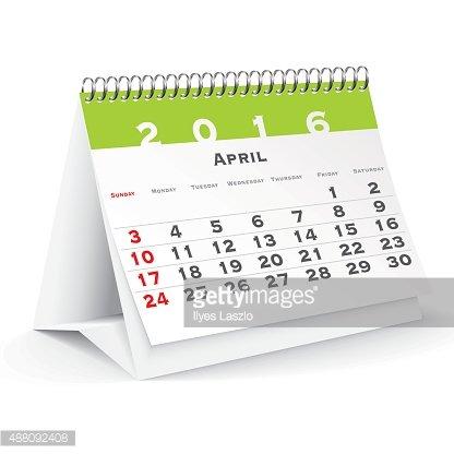 April 2016 desk calendar Clipart Image.