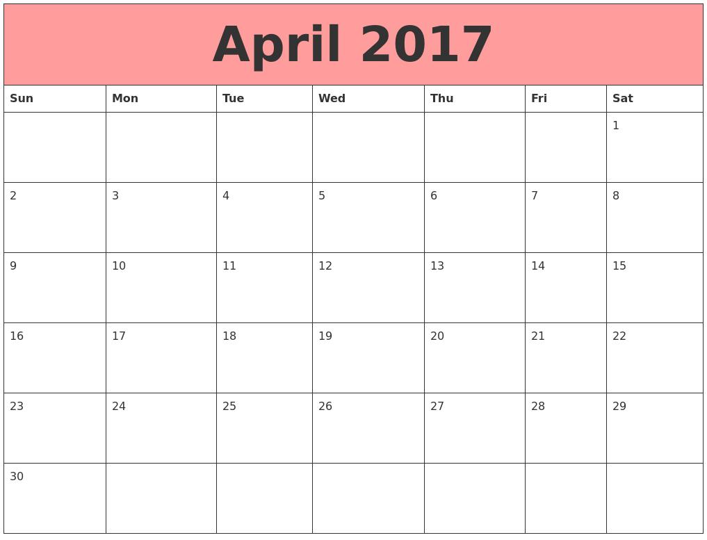 April 2017 calendar Word Excel PDF Templates.