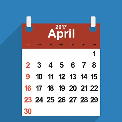 Leaf Calendar 2017 With The Month of April Days premium.