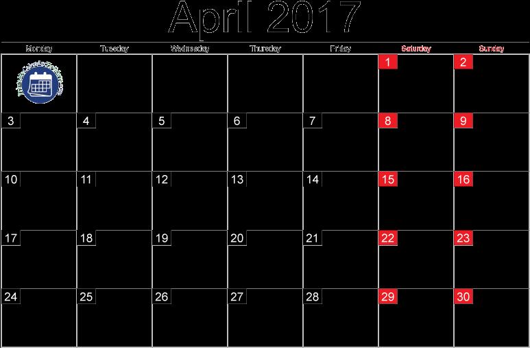 Moon Phases Calendar April 2018 , Transparent Cartoon.
