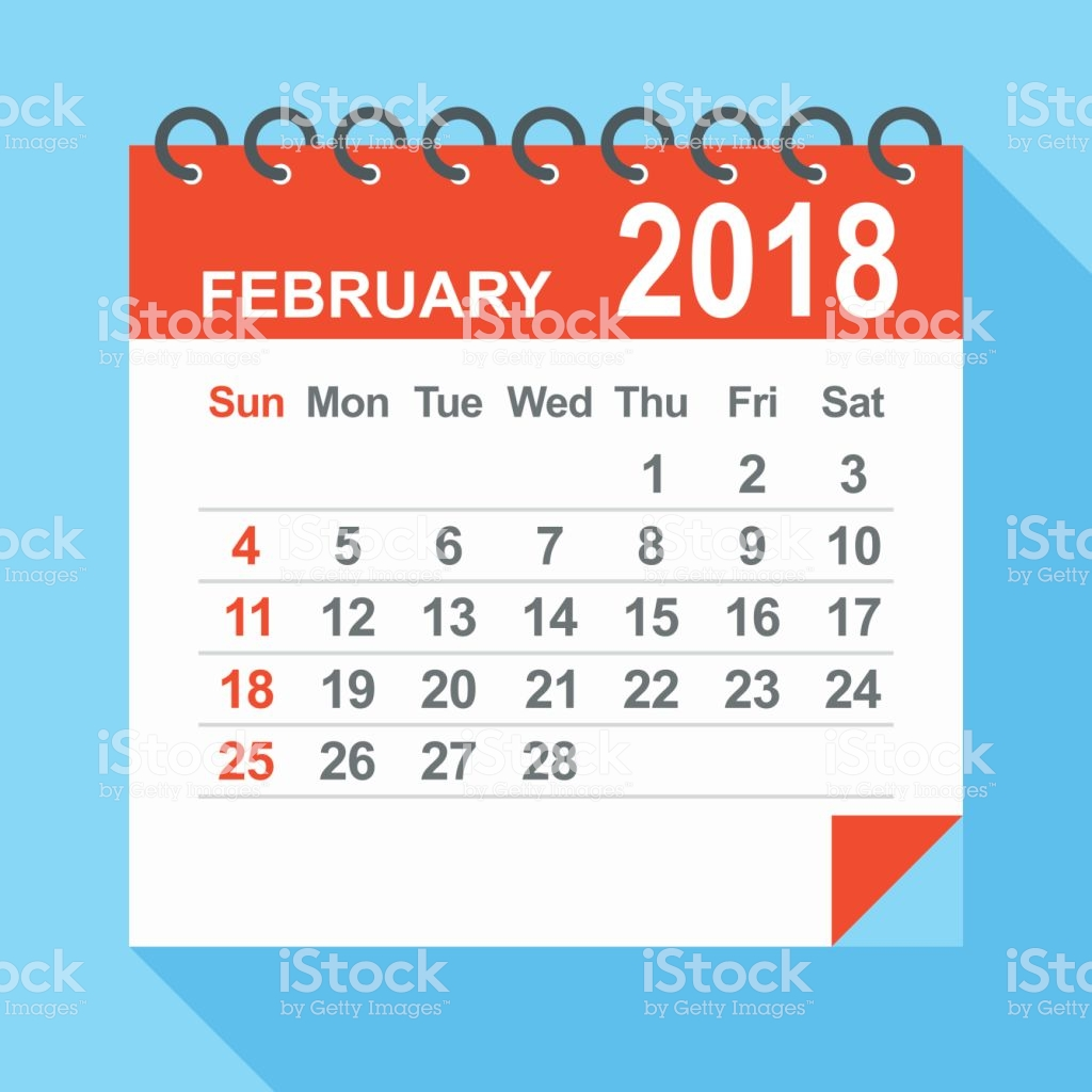 February 2018 Calendar Clipart.