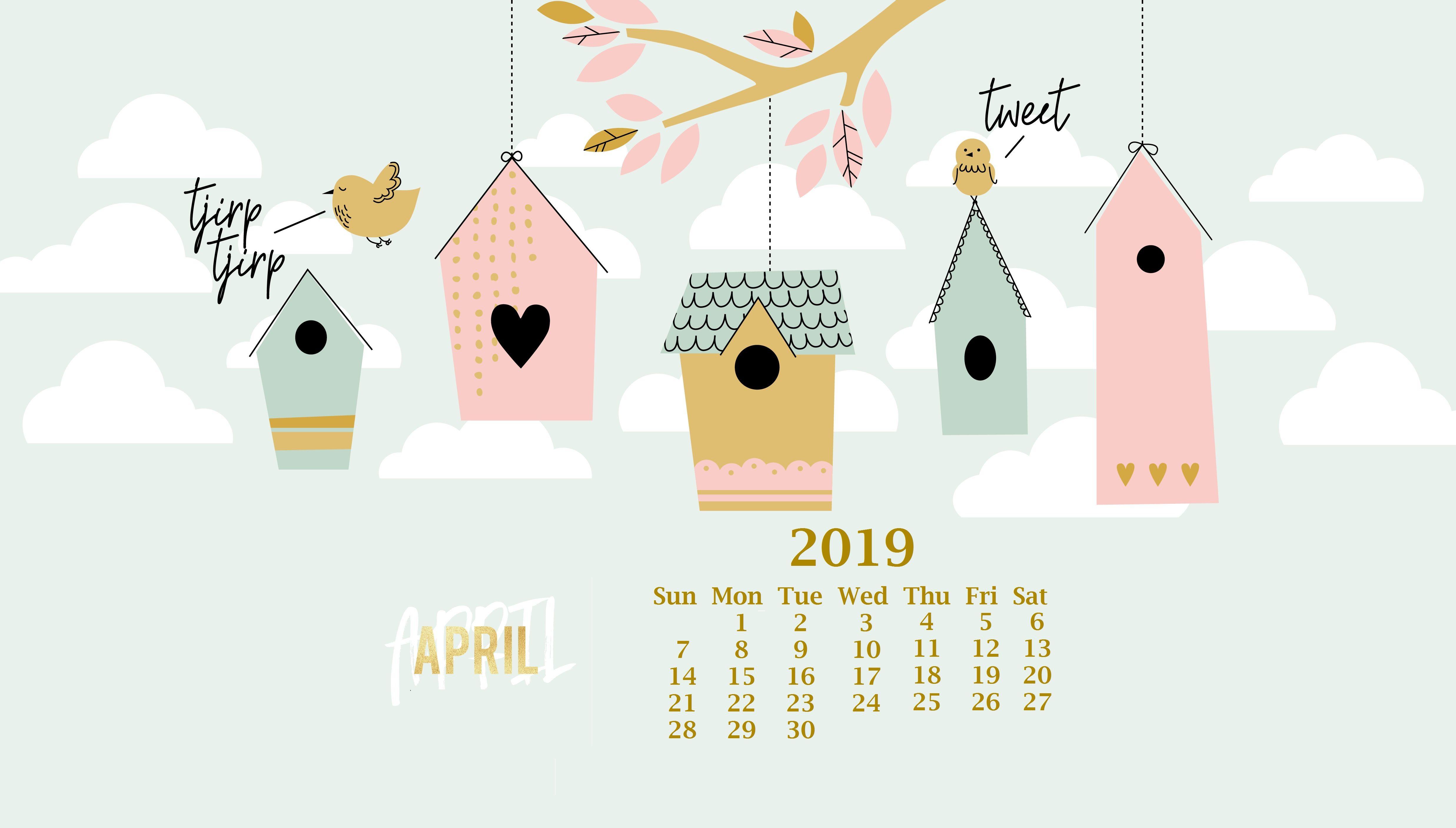 Cute April 2019 Calendar Wallpaper.