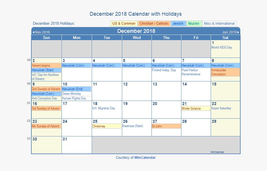 December 2018 Holidays Calendar South Africa.