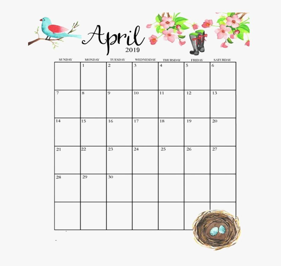 April Calendar Png Image File.
