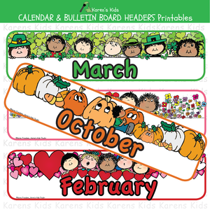 CALENDAR and BULLETIN BOARD Headers Printables.
