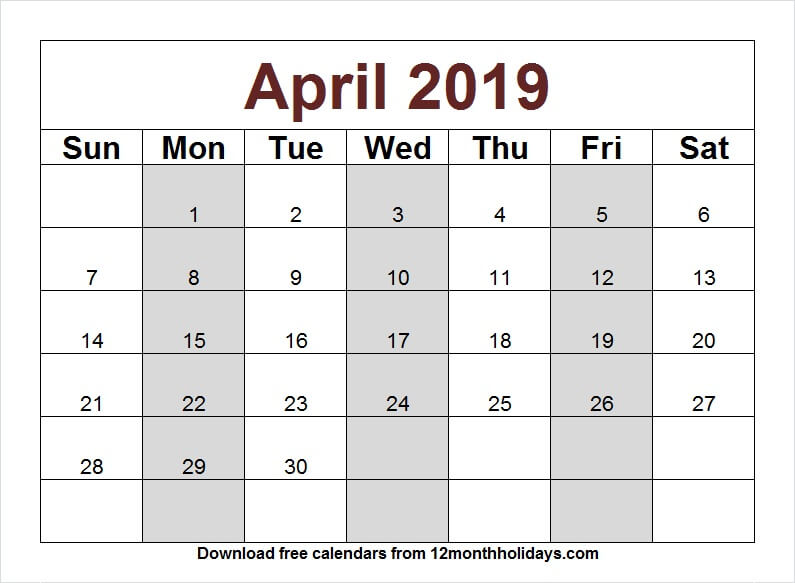 April 2019 Calendar Clipart Template.