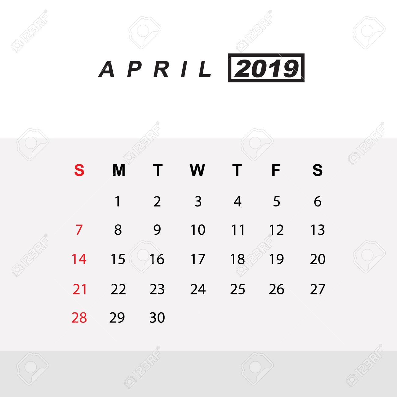 Template of calendar for April 2019.