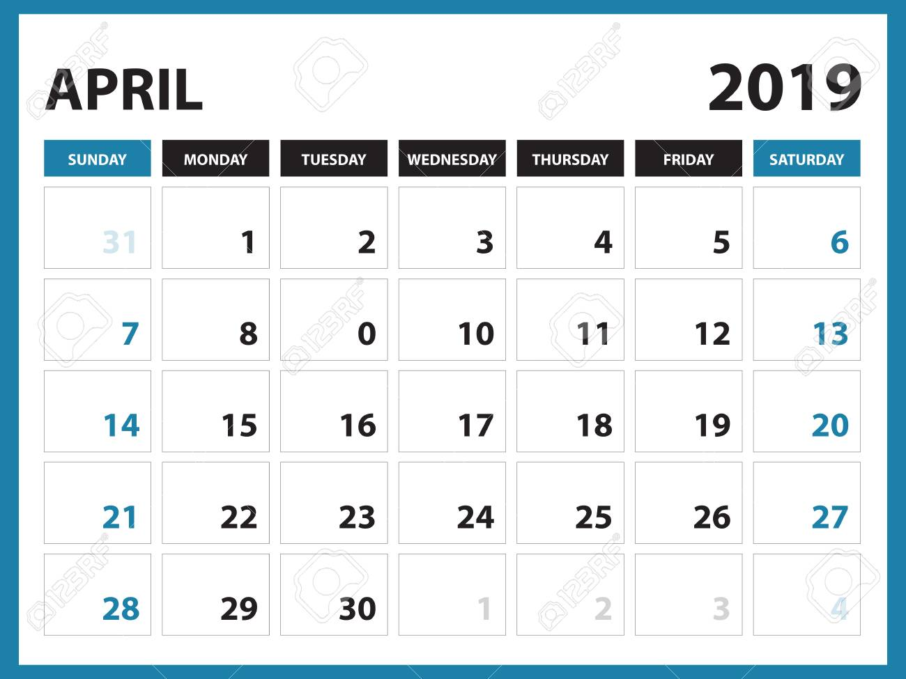 Desk calendar for APRIL 2019 template, Printable calendar, Planner...