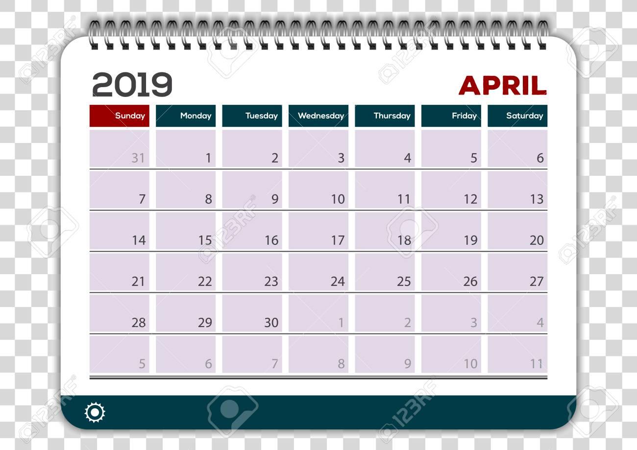 April 2019. Calendar planner design template. Week starts on...