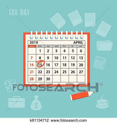 April page 2019 spiral calendar with marked tax day Clipart.