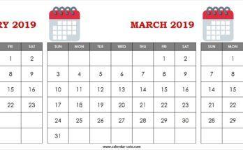 Cute February March April 2019 Calendar Clipart.