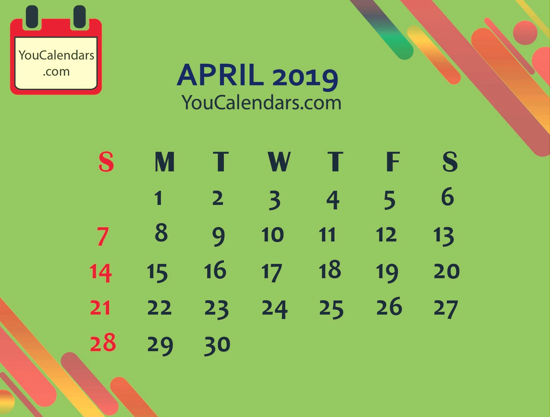 ✅april 2019 calendar clipart.