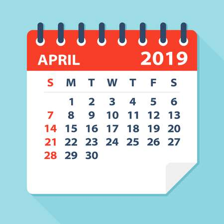 April 2019 Calendar Leaf.