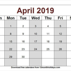 April 2019 Calendar Clipart Archives.