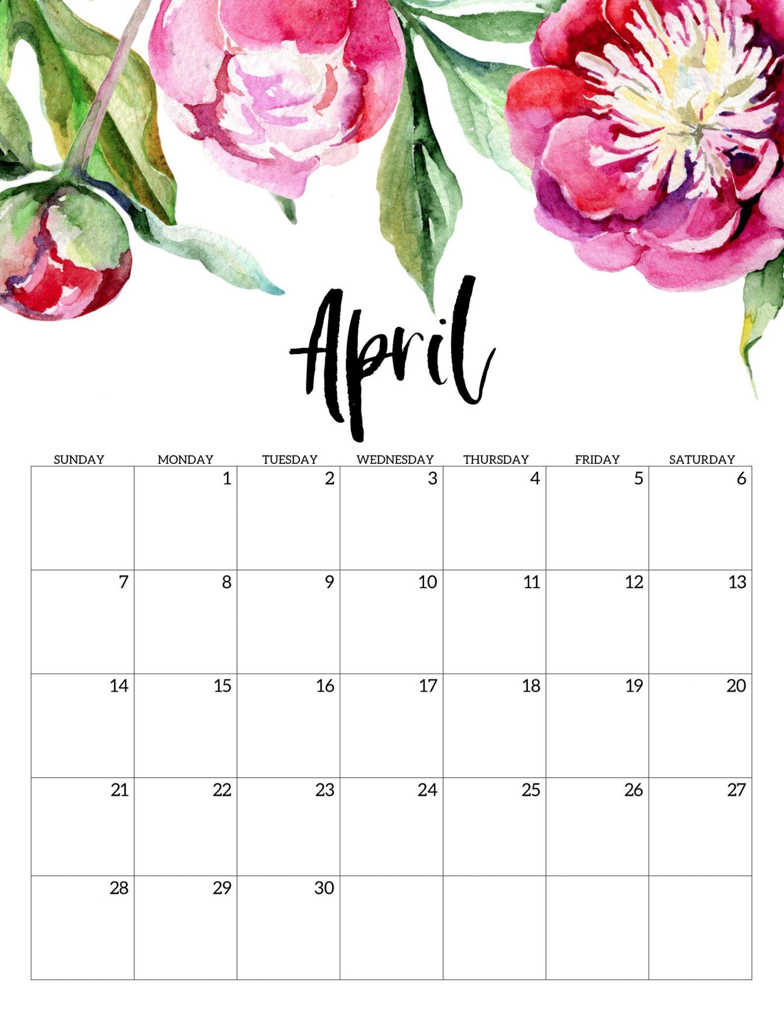April 2019 Floral Calendar.