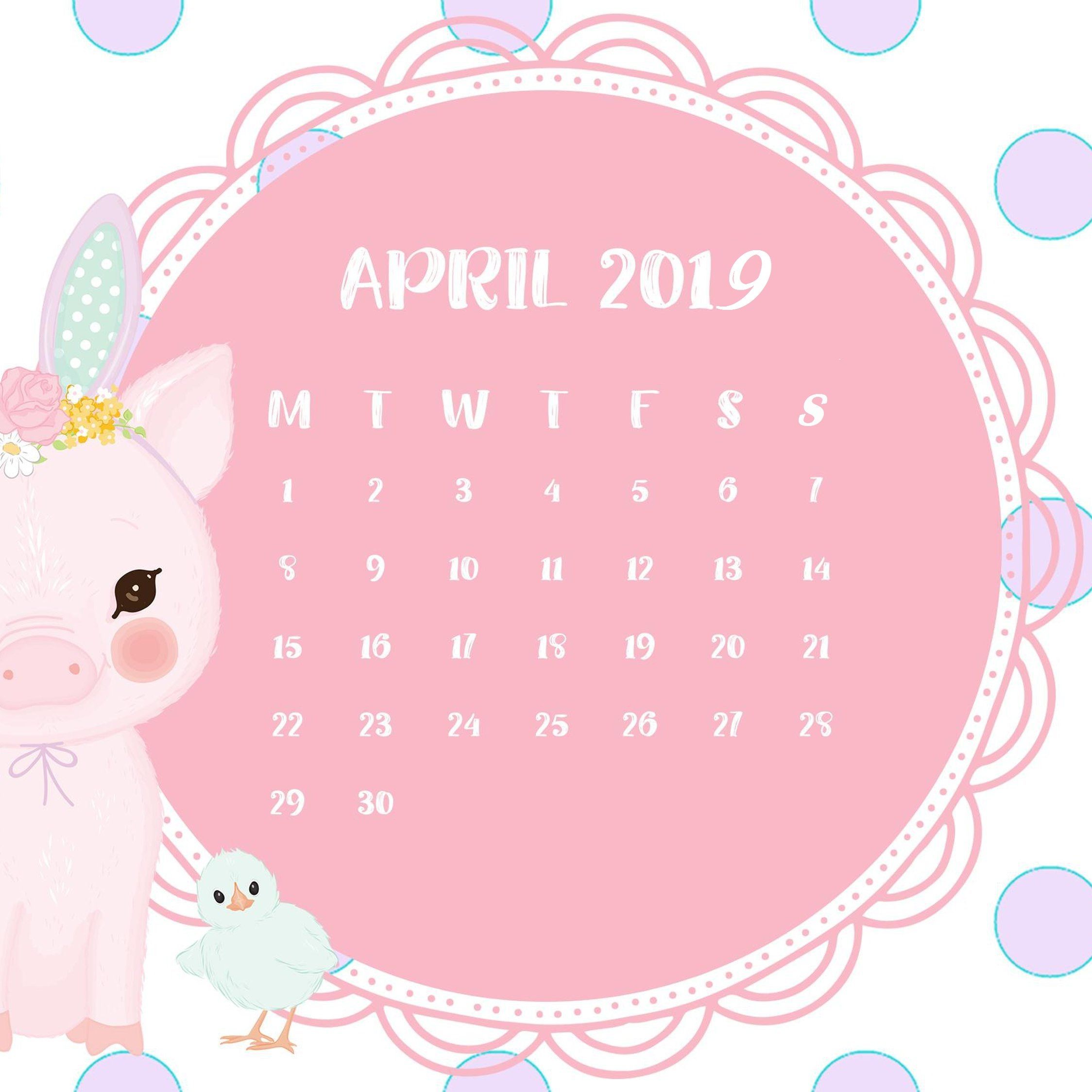 April 2019 iPhone Wallpaper With Calendar in 2019.