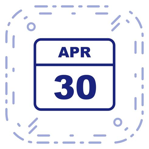 April 30th Date on a Single Day Calendar.