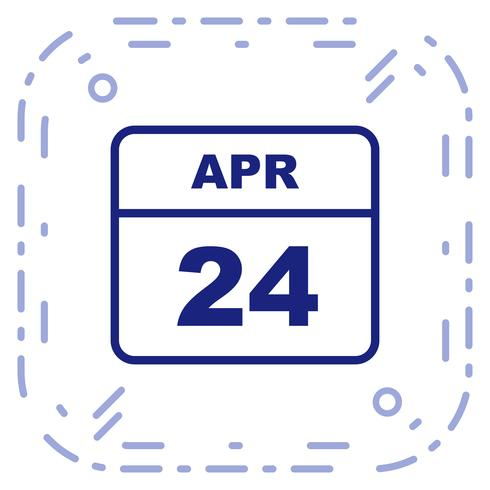 April 24th Date on a Single Day Calendar.