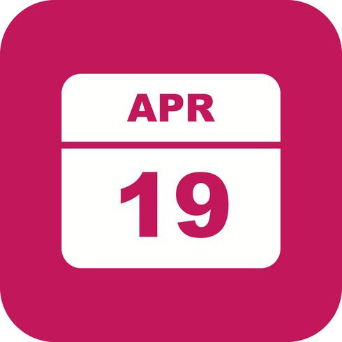 April 19th Date on a Single Day Calendar.