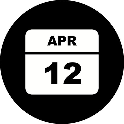 April 12th Date on a Single Day Calendar.