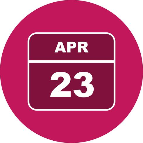 April 23rd Date on a Single Day Calendar.
