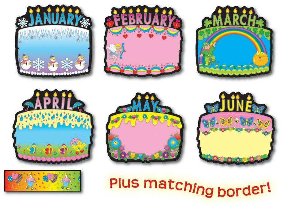 Birthday Cakes Bulletin Board Set.