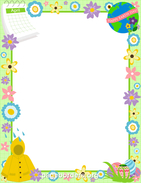 April Border: Clip Art, Page Border, and Vector Graphics.
