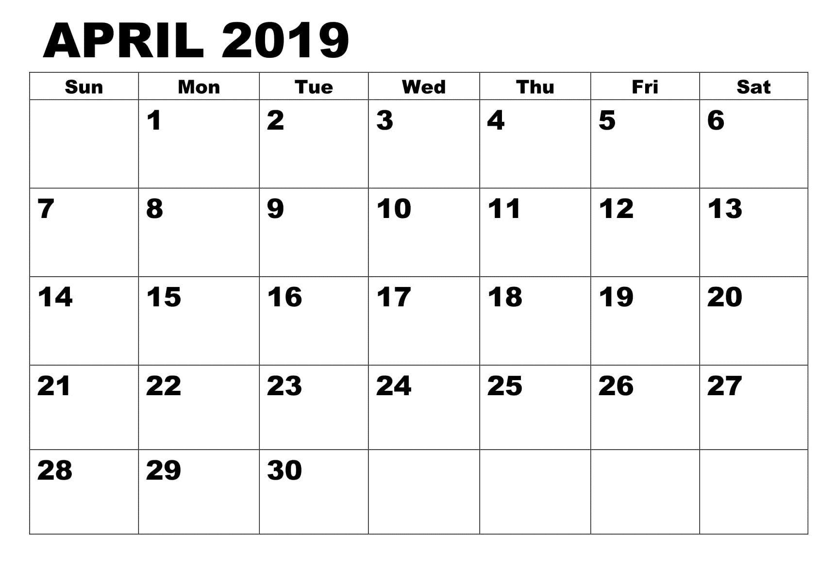 Lunar Calendar For April 2019 Printable PDF Blank Download.