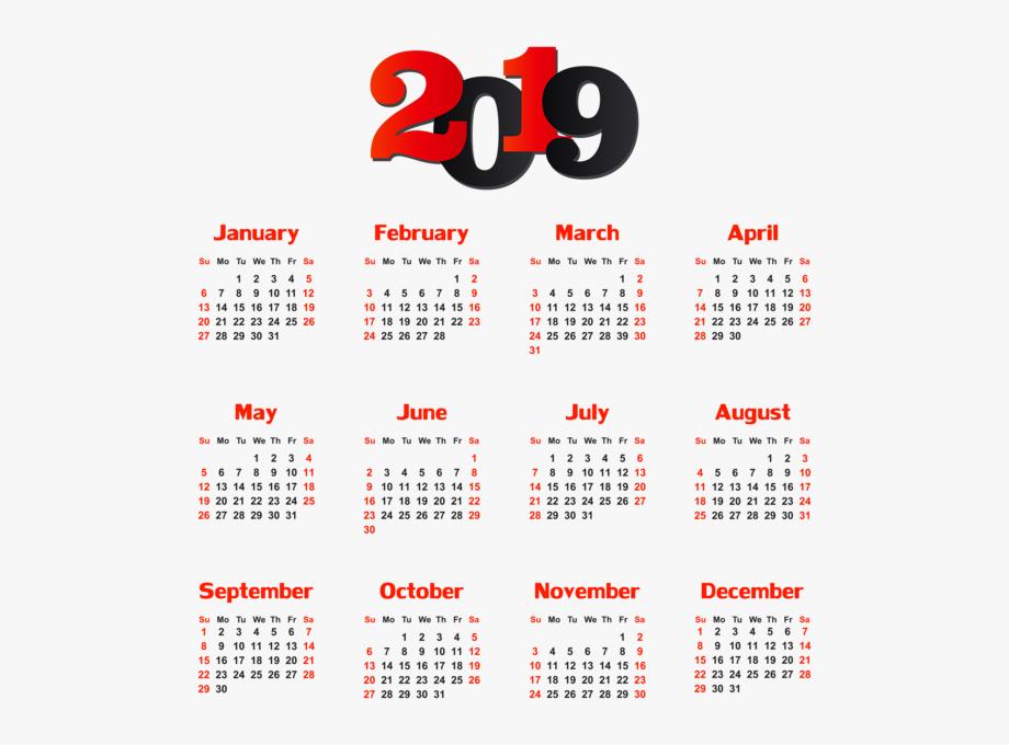 Full Calendar 2019 Png , Transparent Cartoon, Free Cliparts.