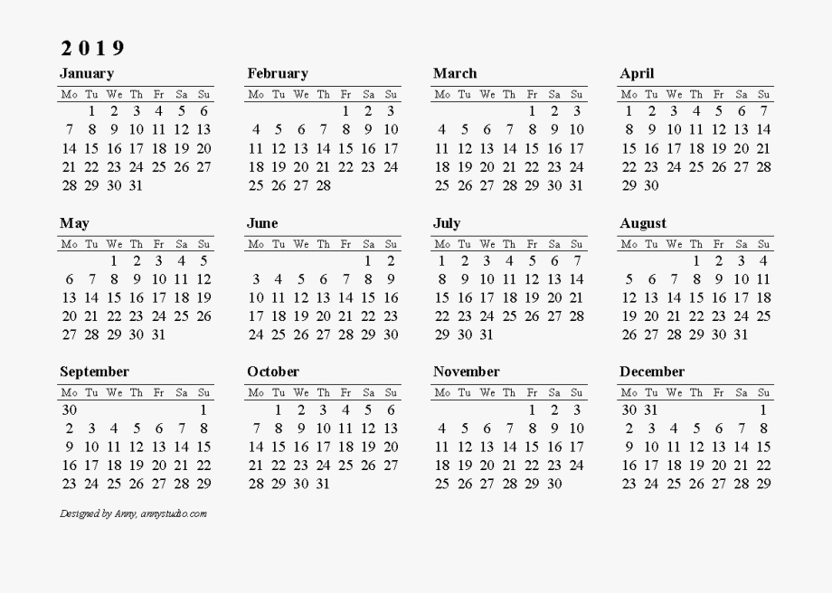 2019 Calendar Png Clipart.