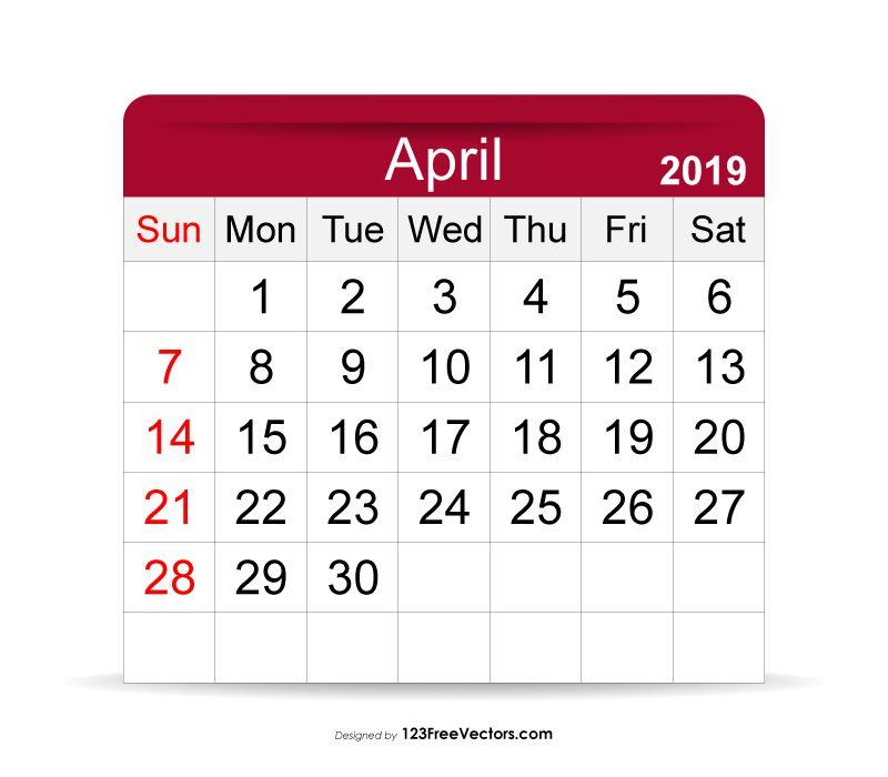 April 2019 Calendar.