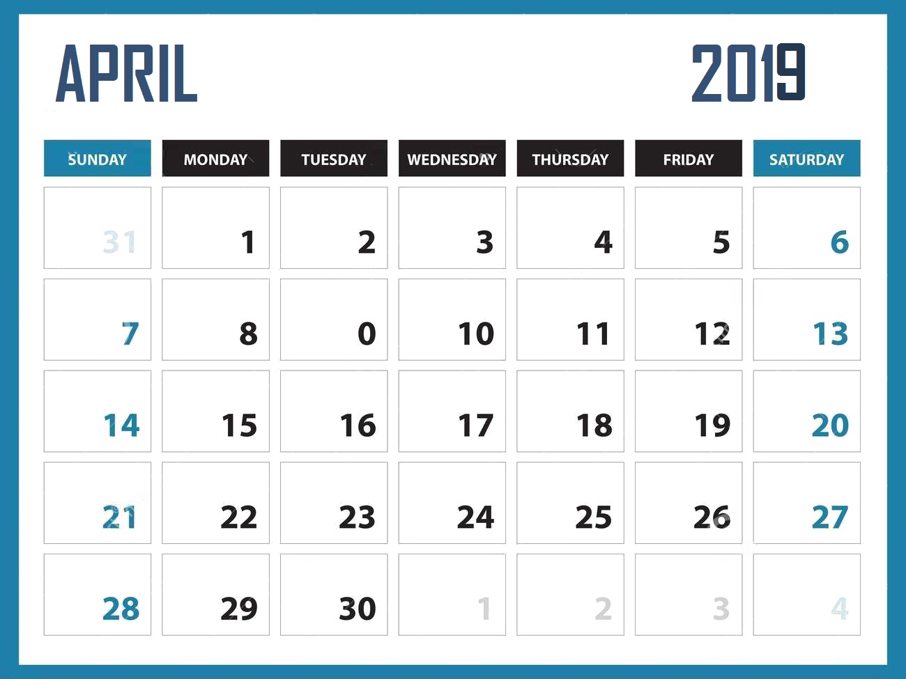 April Calendar PNG Clipart.