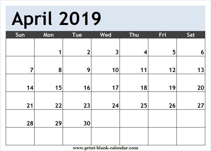 April 2019 Calendar Clipart Page.