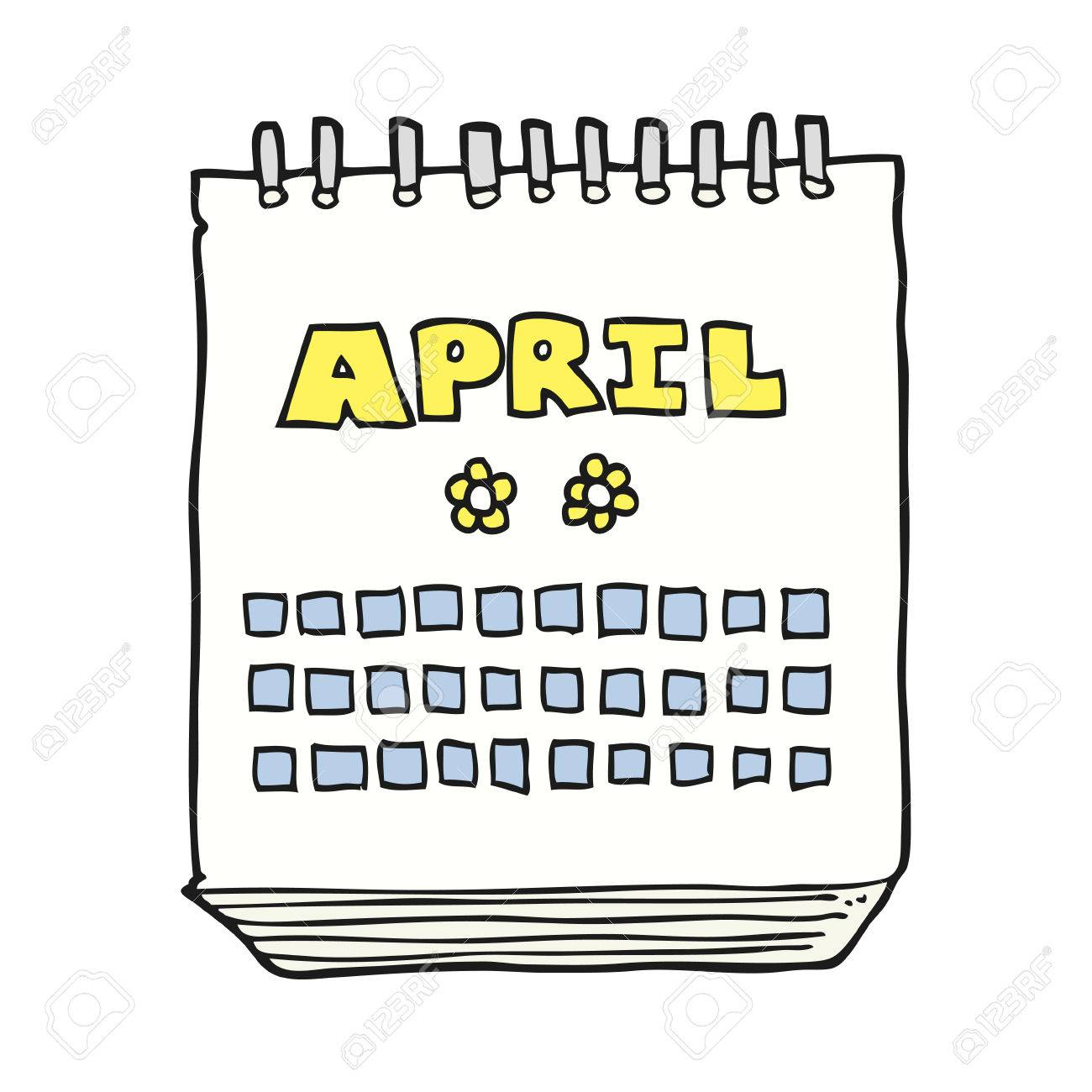 freehand drawn cartoon calendar showing month of April.
