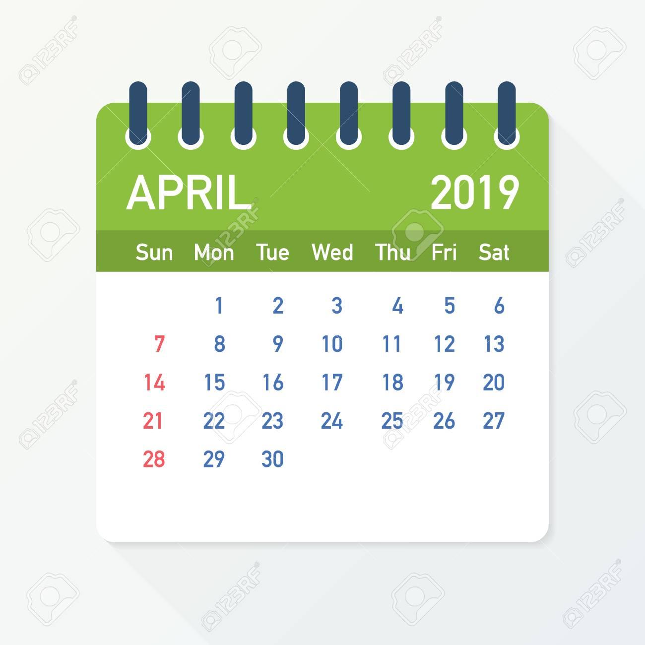 April 2019 Calendar Leaf. Calendar 2019 in flat style. Vector...