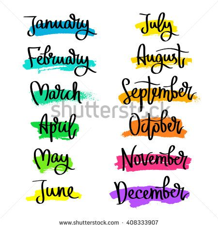 Set of labels of the months of the year. Fashionable.