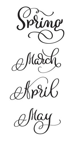 spring Months march april may words on white background.
