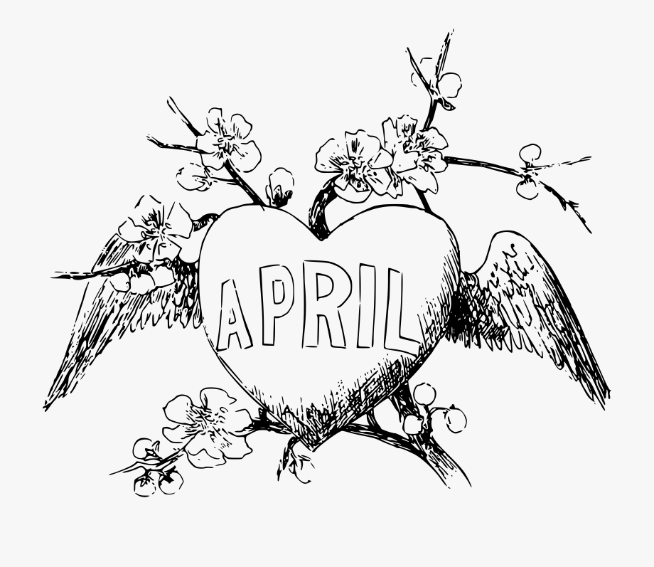 April Clipart Black And White.