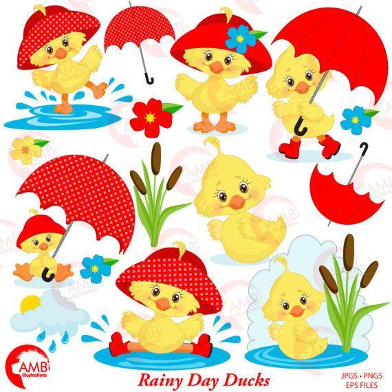 Duck Clipart, Umbrella Clipart, Spring Clipart, April.
