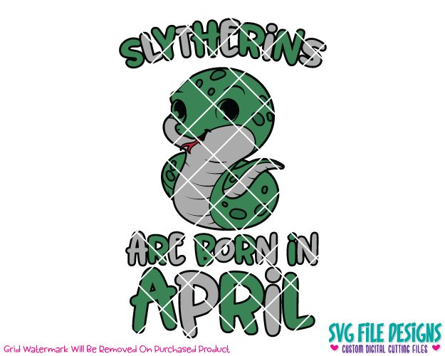 Slytherins Are Born In April Cut File Set in SVG, EPS, DXF, JPEG, and PNG.