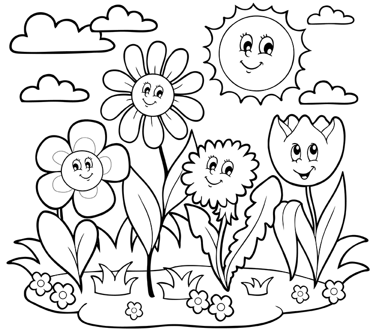 May Flowers Coloring Pages.